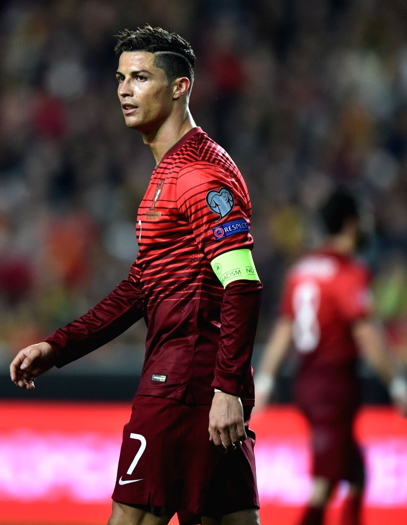 Cristiano Ronaldo of Portugal reacts during the UEFA Euro 2016 Group I qualifying match against Serbia in Lisbon, Portugal, March 29, 2015. Portugal won 2-1. ...