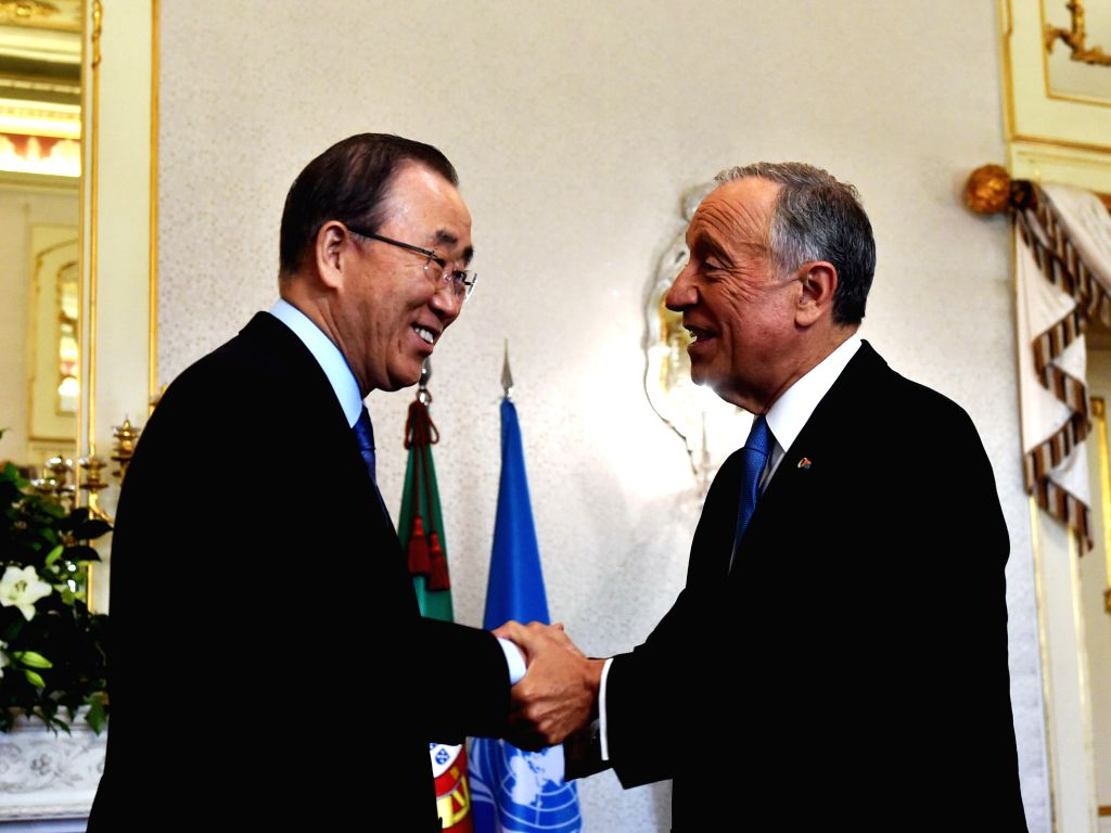 LISBON, May 13, 2016 - UN Secretary-General Ban Ki-Moon (L) shakes hands with Portuguese President Marcelo Rebelo de Sousa at the Presidential Palace in Lisbon during his two-day visit to Portugal on ...