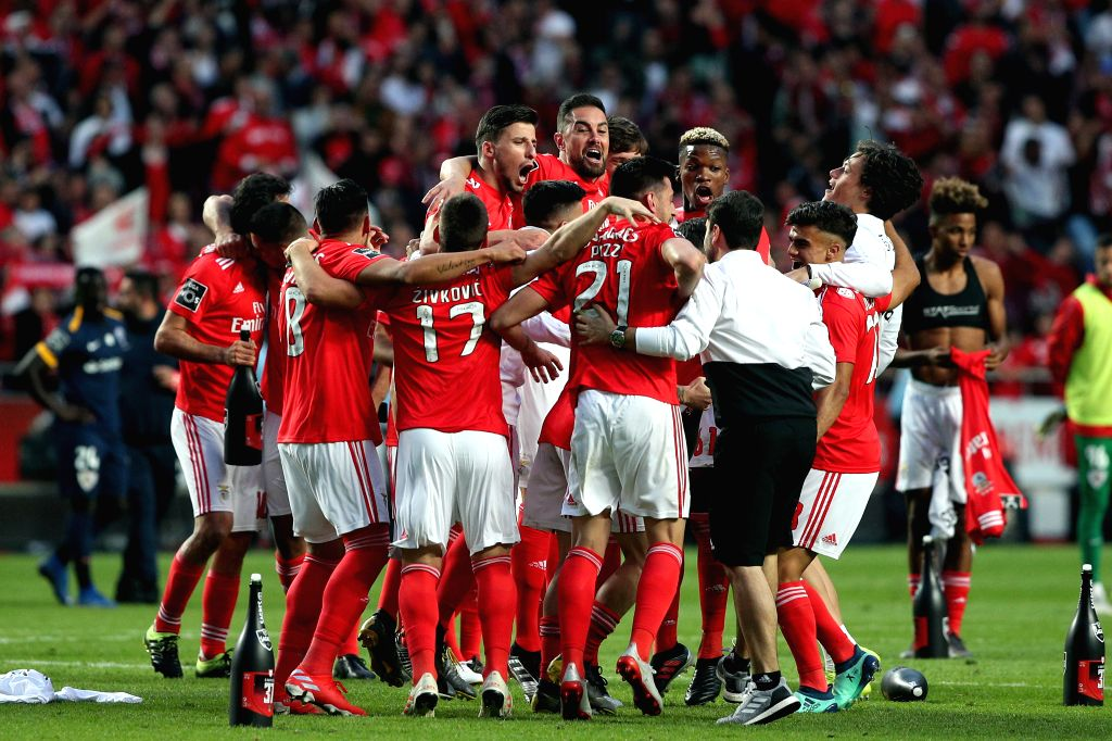LISBON, May 19, 2019 - Team Benfica celebrates after winning the Champion of the Portuguese League at the Luz stadium in Porto on May 18, 2019.
