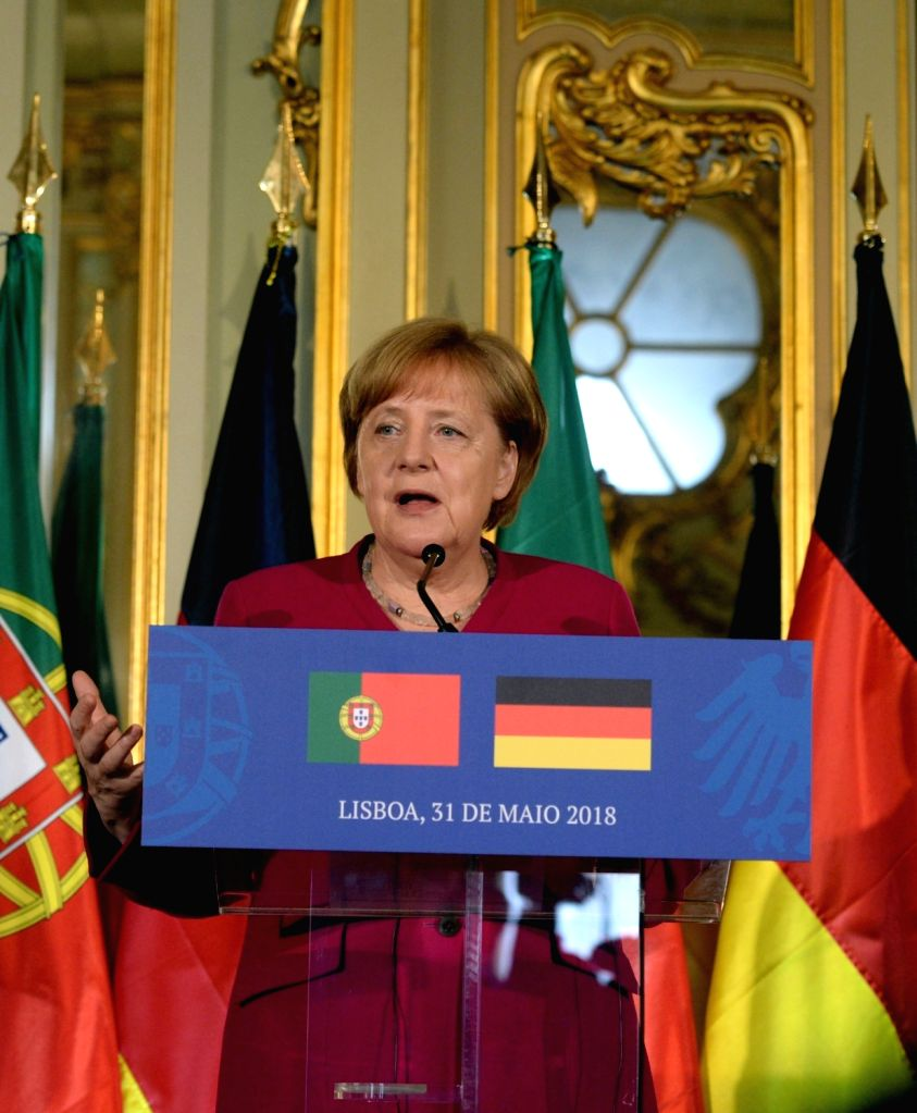 LISBON, May 31, 2018 - German Chancellor Angela Merkel attends a press conference with Portuguese Prime Minister Antonio Costa (not in the picture) in Lisbon, Portugal, on May 31, 2018. German ... - Antonio Costa