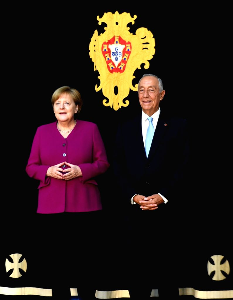 LISBON, May 31, 2018 - Portuguese President Marcelo Rebelo de Sousa (R) meets with visiting German Chancellor Angela Merkel in Lisbon, Portugal, on May 31, 2018. Merkel finished up a two-day visit to ...