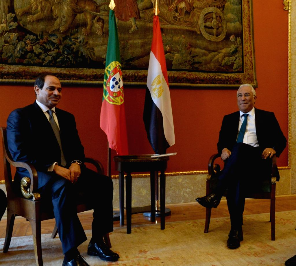 LISBON, Nov. 21, 2016 - Portuguese Prime Minister Antonio Costa (R) meets with visiting Egyptian President Abdel Fattah al-Sisi at the Necessidades palace in Lisbon, capital of Portugal, on Nov. 21, ... - Antonio Costa