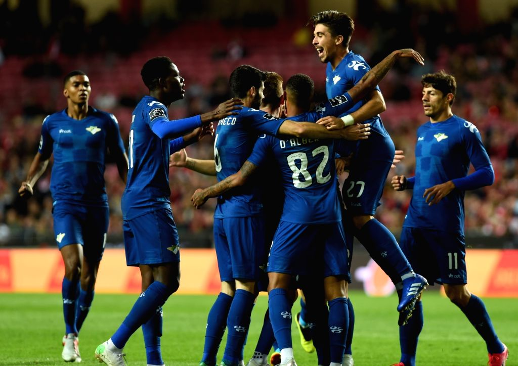 LISBON, Nov. 3, 2018 - Pedro Nuno (2nd R) of Benfica celebrates after scoring with teammates during the Portuguese League soccer match between SL Benfica and Moreirense FC at Luz Stadium in Lisbon, ...