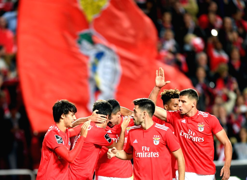 LISBON, Nov. 3, 2018 - Players of Benfica celebrate after scoring during the Portuguese League soccer match between SL Benfica and Moreirense at Luz Stadium in Lisbon, Portugal on Nov. 2, 2018. ...
