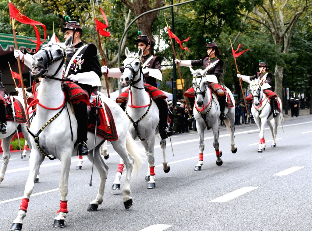 LISBON, Nov. 5, 2018 - A military parade is held to mark the 100th anniversary of the end of World War I (WWI) in Lisbon, Portugal, on Nov. 4, 2018. More than 4,500 soldiers and police including 160 ...