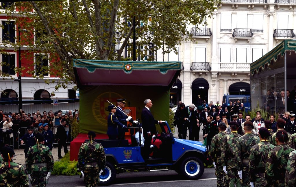LISBON, Nov. 5, 2018 - Portuguese President Marcelo Rebelo de Sousa reviews armed forces during a military parade marking the 100th anniversary of the end of World War I (WWI) in Lisbon, Portugal, on ...