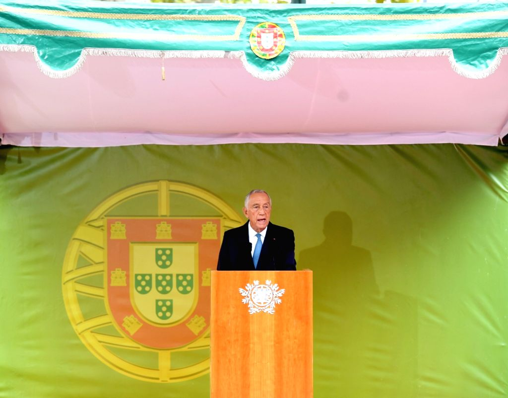 LISBON, Nov. 5, 2018 - Portuguese President Marcelo Rebelo de Sousa speaks during a military parade marking the 100th anniversary of the end of World War I (WWI) in Lisbon, Portugal, on Nov. 4, 2018. ...