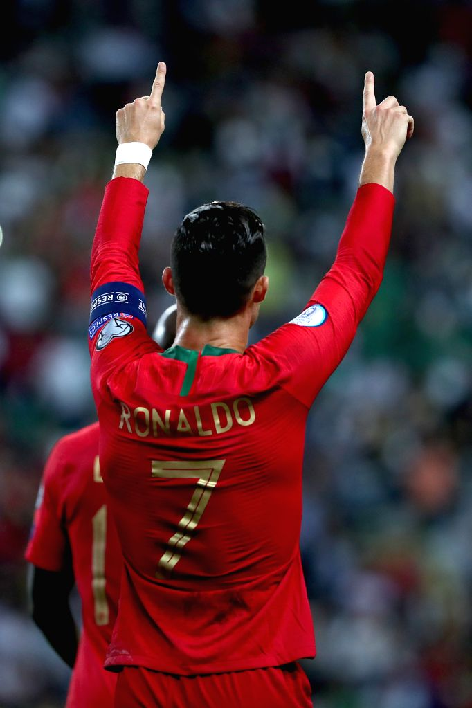 LISBON, Oct. 12, 2019 - Cristiano Ronaldo of Portugal celebrates after scoring a goal during the UEFA Euro 2020 qualifying round Group B match between Portugal and Luxembourg in Lisbon, Portugal on ...