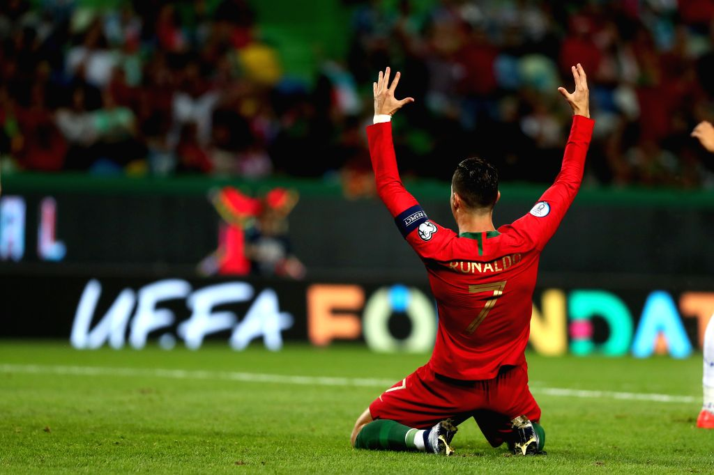 LISBON, Oct. 12, 2019 - Cristiano Ronaldo of Portugal reacts during the UEFA Euro 2020 qualifying round Group B match between Portugal and Luxembourg in Lisbon, Portugal on October 11, 2019.