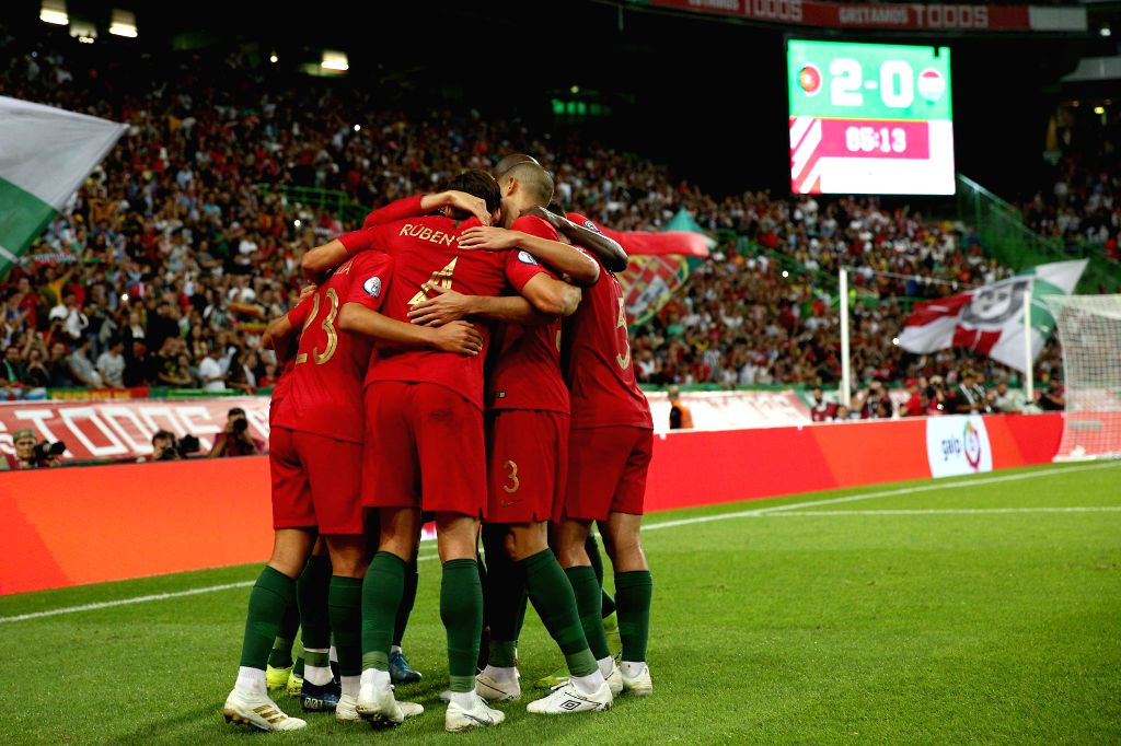LISBON, Oct. 12, 2019 - Players of Portugal celebrate after scoring a goal during the UEFA Euro 2020 qualifying round Group B match between Portugal and Luxembourg in Lisbon, Portugal on October 11, ...
