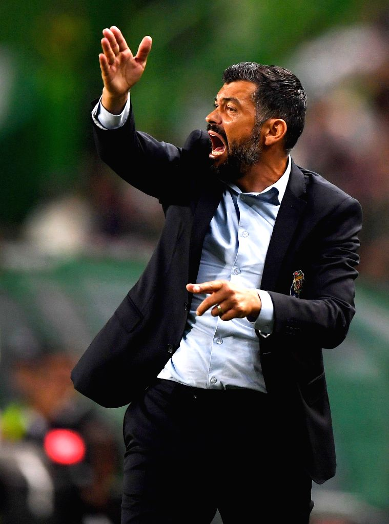 LISBON, Oct.2, 2017 - Porto's head coach Sergio Conceicao gives instructions during the Portuguese League soccer match between Sporting CP and FC Porto at the Alvalade stadium in Lisbon, Portugal on ...