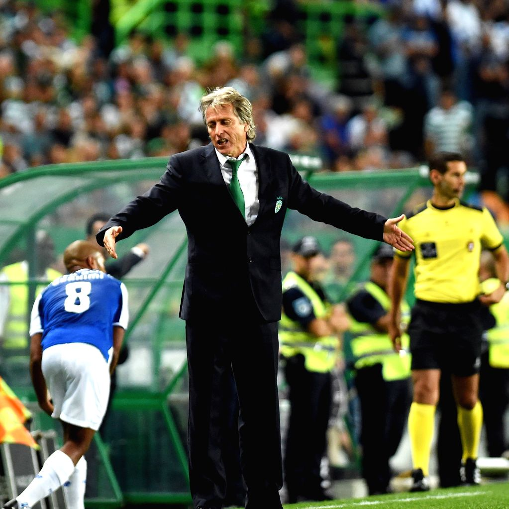 LISBON, Oct.2, 2017 - Sporting's coach Jorge Jesus reacts during the Portuguese League soccer match between Sporting CP and FC Porto at the Alvalade stadium in Lisbon, Portugal on Oct. 1, 2017. The ...