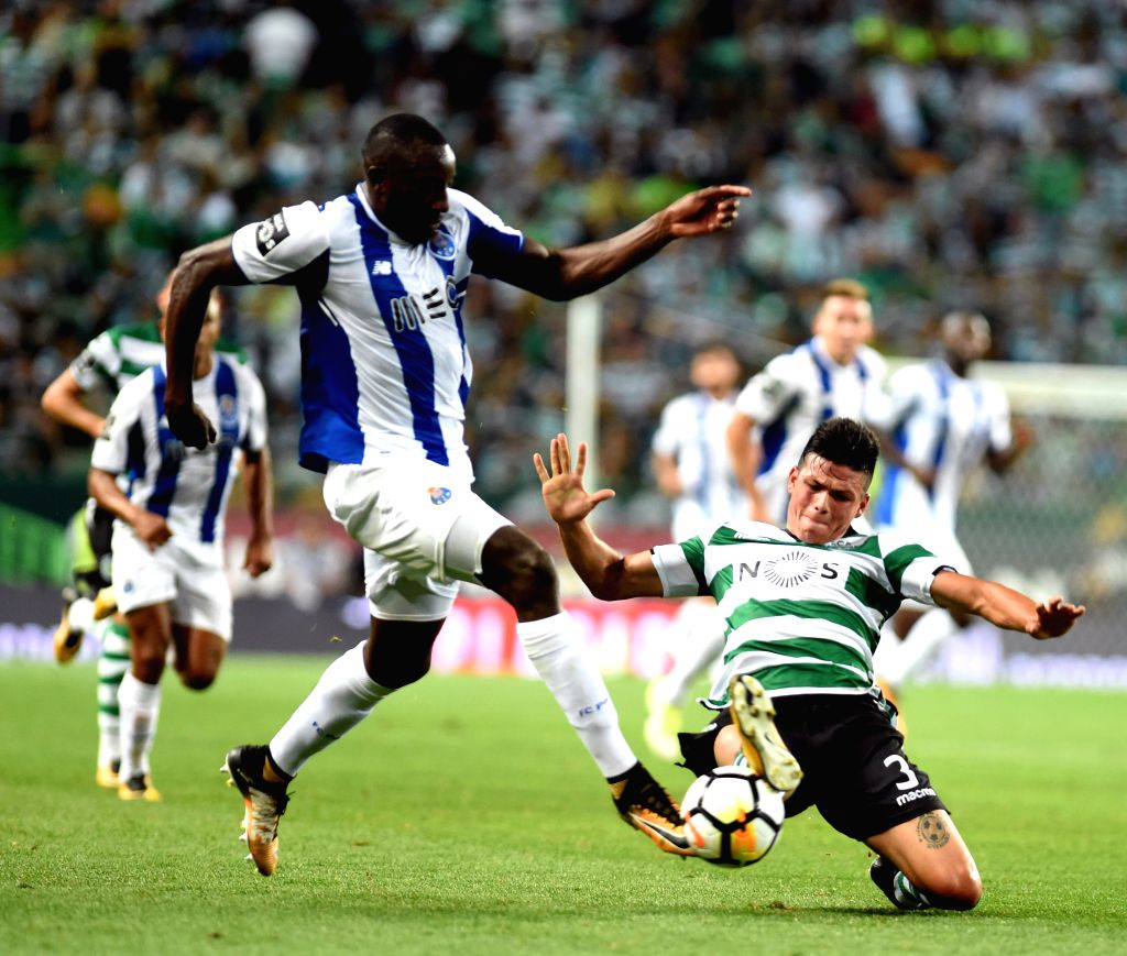 LISBON, Oct.2, 2017 - Sporting's Jonathan Silva (R) vies with Porto's Moussa Marega during the Portuguese League soccer match between Sporting CP and FC Porto at the Alvalade stadium in Lisbon, ...