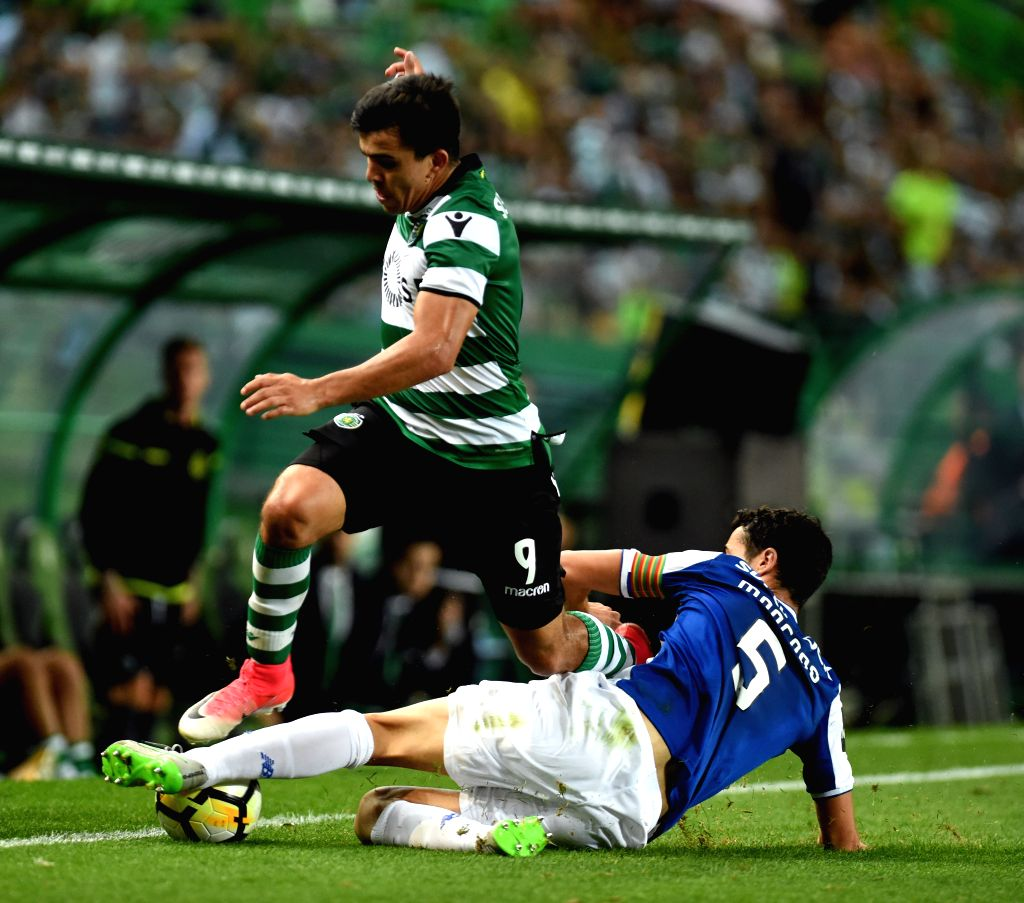LISBON, Oct.2, 2017 - Sporting's Marcos Acuna (L) vies with Porto's Ivan Marcano during the Portuguese League soccer match between Sporting CP and FC Porto at the Alvalade stadium in Lisbon, Portugal ...