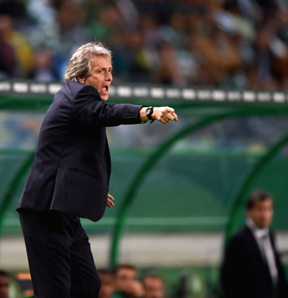 LISBON , Oct. 23, 2016 - Sporting's coach Jorge Jesus gestures during the Portuguese Primeira Liga soccer match between Sporting CP and CD Tondela at the Jose Alvalade stadium in Lisbon on Oct. 22, ...
