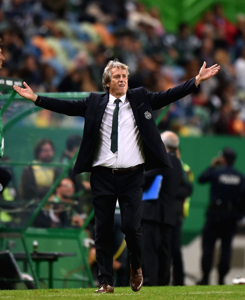 LISBON , Oct. 23, 2016 - Sporting's coach Jorge Jesus reacts during the Portuguese Primeira Liga soccer match between Sporting CP and CD Tondela at the Jose Alvalade stadium in Lisbon on Oct. 22, ...