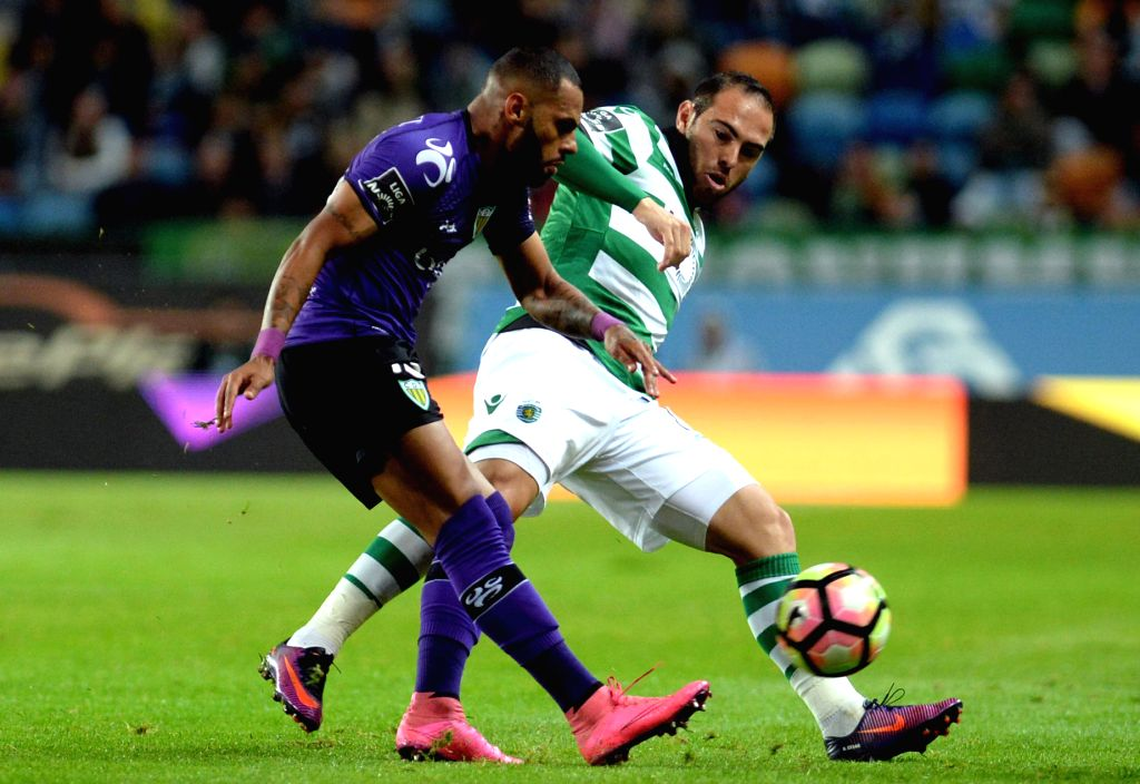 LISBON , Oct. 23, 2016 - Sporting's player Bruno Cesar (R) vies with Tondela's player Jailson during the Portuguese Primeira Liga soccer match between Sporting CP and CD Tondela at the Jose Alvalade ...