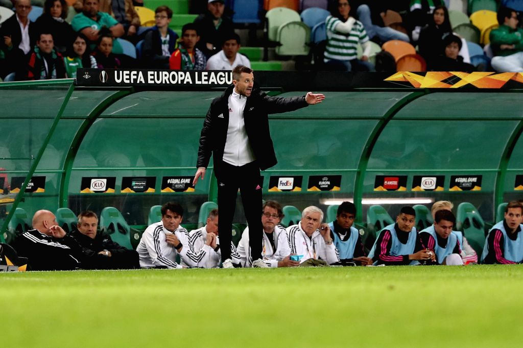 LISBON, Oct. 25, 2019 - Rosenborg's head coach Eirik Horneland gestures during a UEFA Europa League Group D football match between Sporting CP and Rosenborg BK in Lisbon, Portugal on Oct. 24, 2019.