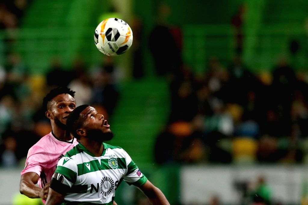 LISBON, Oct. 25, 2019 - Samuel Adegbenro (L) of Rosenborg BK vies with Valentin Rosier of Sporting CP during a UEFA Europa League Group D football match between Sporting CP and Rosenborg BK in ...