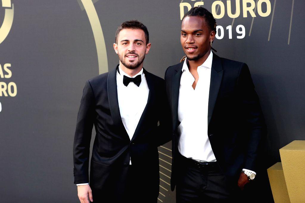 "LISBON, Sept. 3, 2019 - Portugal's midfielders Bernardo Silva (L) and Renatos Sanches arrive for the Portuguese Football Federation ""Quinas de Ouro 2019"" awards ceremony at Carlos Lopes ..."