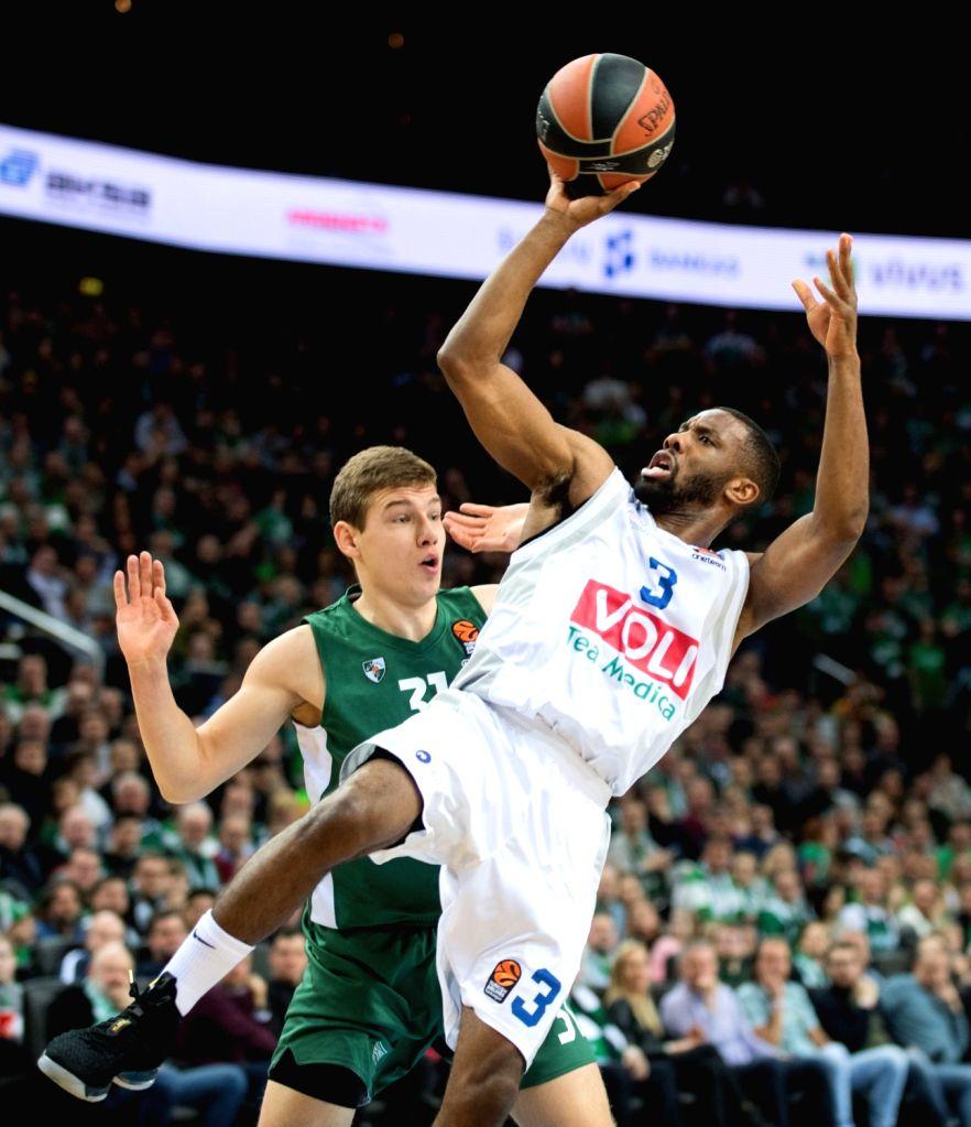 LITHUANIA, Feb. 23, 2019 - Norris Cole (R) of Buducnost VOLI Podgorica goes to basket during the regular season of EuroLeague basketball tournament between Lithuania's Zalgiris Kaunas and ...