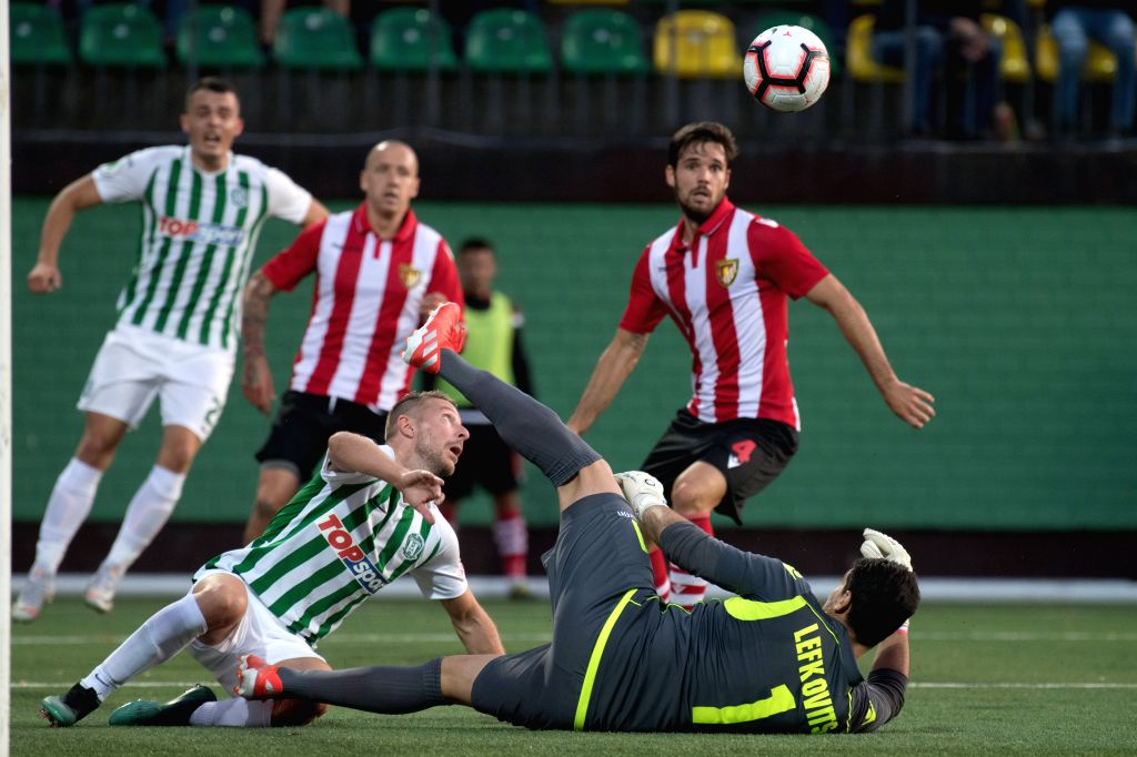 LITHUANIA, July 19, 2019 - Honved's goalkeeper Robi R. Lefkovits (bottom R) makes a save during the second leg of the first qualifying round between Lithuania's Zalgiris and Hungary's Honved at ...