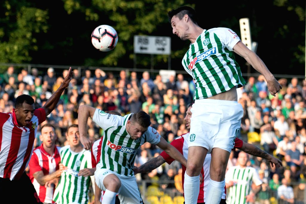 LITHUANIA, July 19, 2019 - Klemen Bolha (top) of Zalgiris heads for the ball during the second leg of the first qualifying round between Lithuania's Zalgiris and Hungary's Honved at 2019-2020 UEFA ...