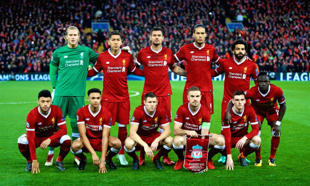 LIVERPOOL, April 5, 2018 - Liverpool players line up before the UEFA Champions League quarterfinal 1st Leg match between Liverpool and Manchester City at Anfield Stadium in Liverpool, Britain on ...
