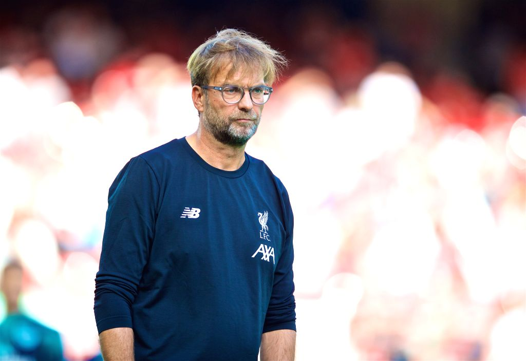 LIVERPOOL, Aug. 25, 2019 - Liverpool's manager Jurgen Klopp reacts during the English Premier League match between Liverpool FC and Arsenal FC at Anfield in Liverpool, Britain on Aug. 24, 2019.