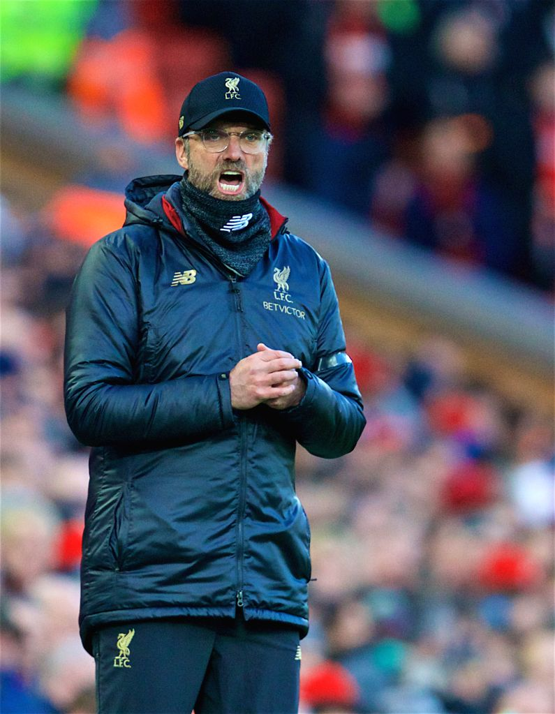 LIVERPOOL, Feb. 10, 2019 - Liverpool's head coach Jurgen Klopp reacts during the English Premier League match between Liverpool and Bournemouth at Anfield in Liverpool, Britain on Feb. 9, 2019. ...