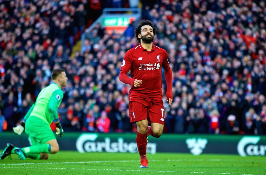 LIVERPOOL, Feb. 10, 2019 - Liverpool's Mohamed Salah celebrates during the English Premier League match between Liverpool and Bournemouth at Anfield in Liverpool, Britain on Feb. 9, 2019. Liverpool ...