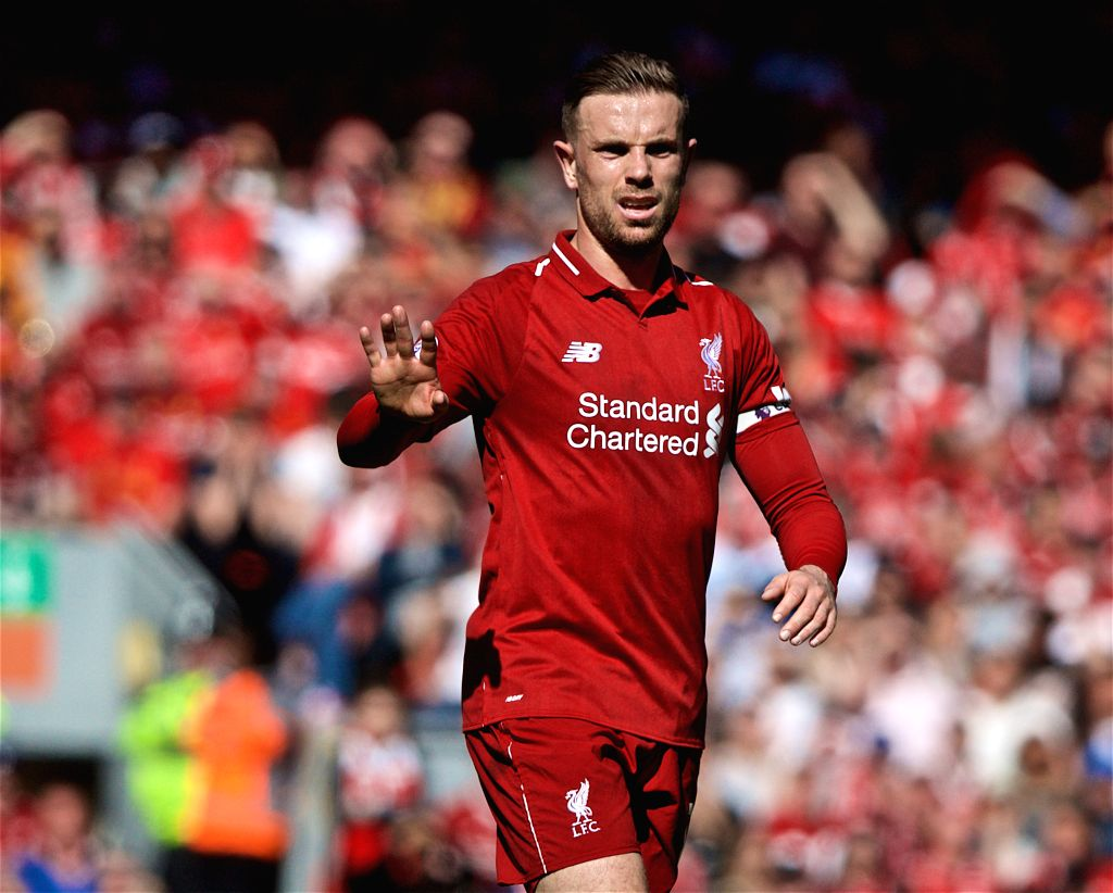 LIVERPOOL, May 13, 2019 - Liverpool's captain Jordan Henderson reacts before the final English Premier League match of the season between Liverpool and Wolverhampton Wanderers at Anfield in ... - Jordan Henderson
