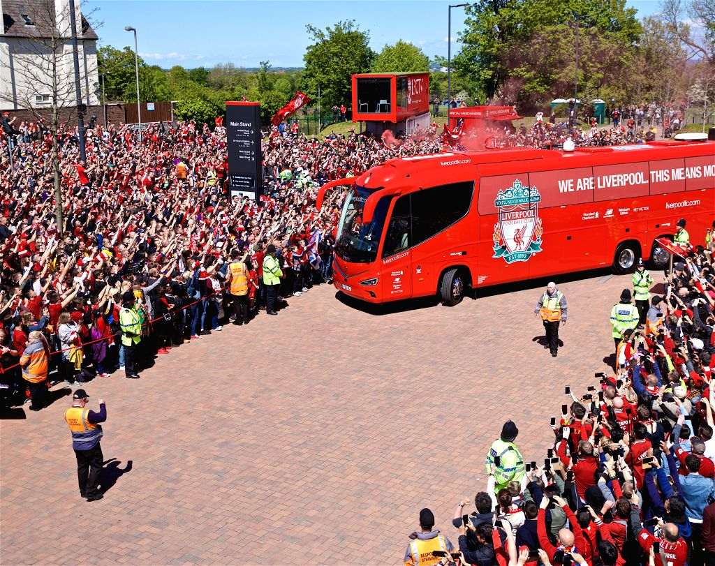 LIVERPOOL, May 13, 2019 - Liverpool supporters welcome the team bus to the stadium before the final English Premier League match of the season between Liverpool and Wolverhampton Wanderers at Anfield ...