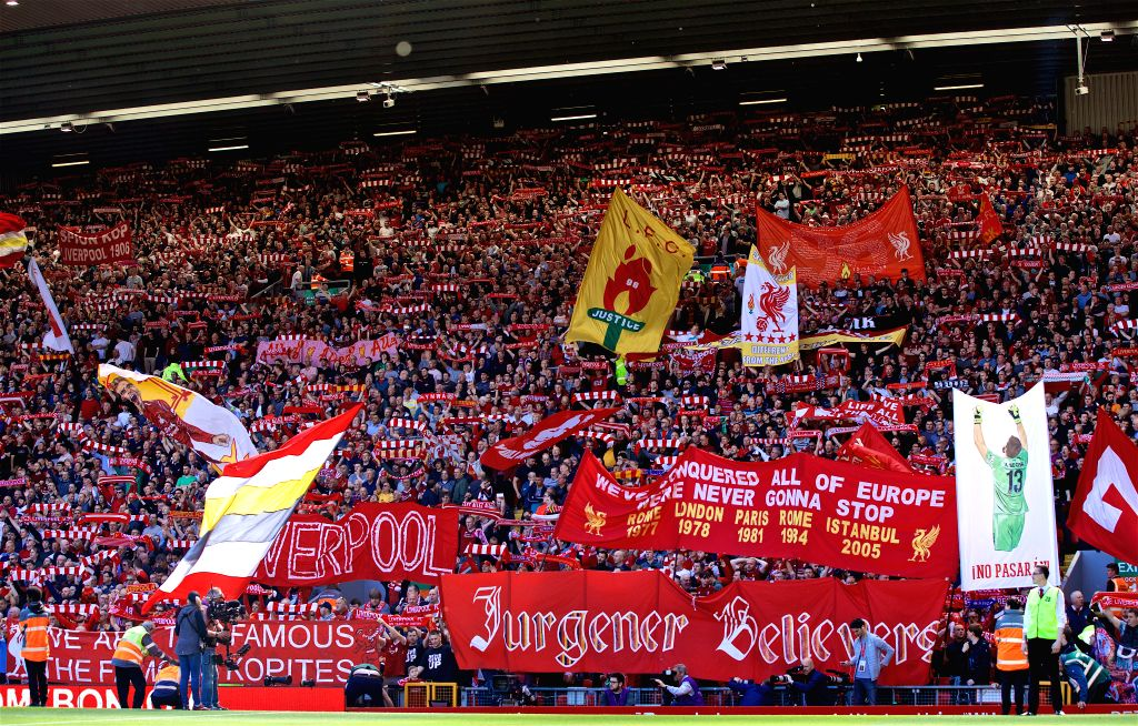 LIVERPOOL, May 13, 2019 - Liverpool supporters on the Spion Kop are seen before the final English Premier League match of the season between Liverpool and Wolverhampton Wanderers at Anfield in ...