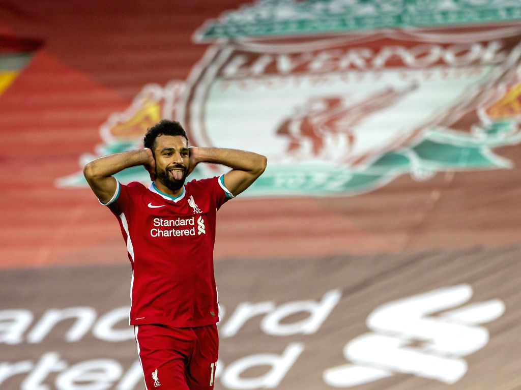 Liverpool's Mohamed Salah celebrates scoring a goal during the English Premier League match between Liverpool FC and Leeds United FC at Anfield in Liverpool, ...