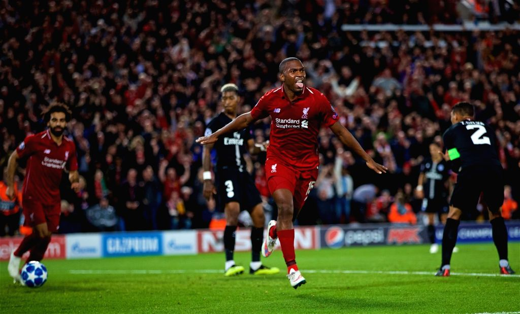 LIVERPOOL, Sept. 19, 2018 - Liverpool's Daniel Sturridge (2nd R) celebrates during the UEFA Champions League Group C match between Liverpool and Paris Saint-Germain at Anfield Stadium in Liverpool, ...