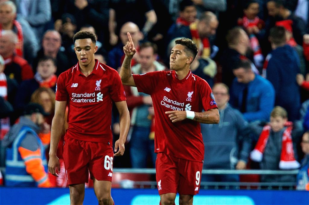 LIVERPOOL, Sept. 19, 2018 - Liverpool's Roberto Firmino (R) celebrates during the UEFA Champions League Group C match between Liverpool and Paris Saint-Germain at Anfield Stadium in Liverpool, ...
