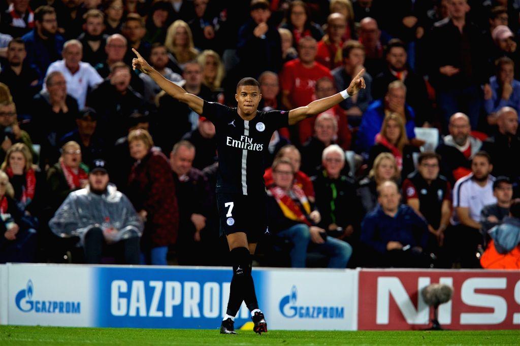 LIVERPOOL, Sept. 19, 2018 - Paris Saint-Germain's Kylian Mbappe celebrates scoring during the UEFA Champions League Group C match between Liverpool and Paris Saint-Germain at Anfield Stadium in ...