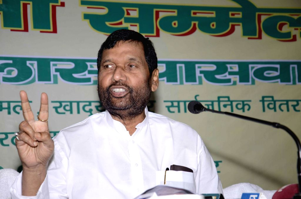 LJP chief and Union Minister for Consumer Affairs, Food and Public Distribution Ramvilas Paswan during a press conference in Patna on July 20, 2014.