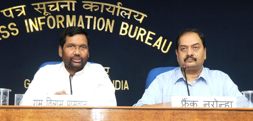 LJP chief and Union Minister for Consumer Affairs, Food and Public Distribution Ramvilas Paswan addresses a press conference in New Delhi on September 10, 2014. Also seen Director General (M&C), .