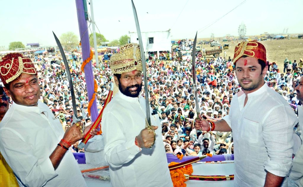 LJP chief and Union Minister for Consumer Affairs, Food and Public Distribution Ramvilas Paswan and Chirag Paswan during Chuharmal's birth anniversary in Patna, on April 22, 2016.