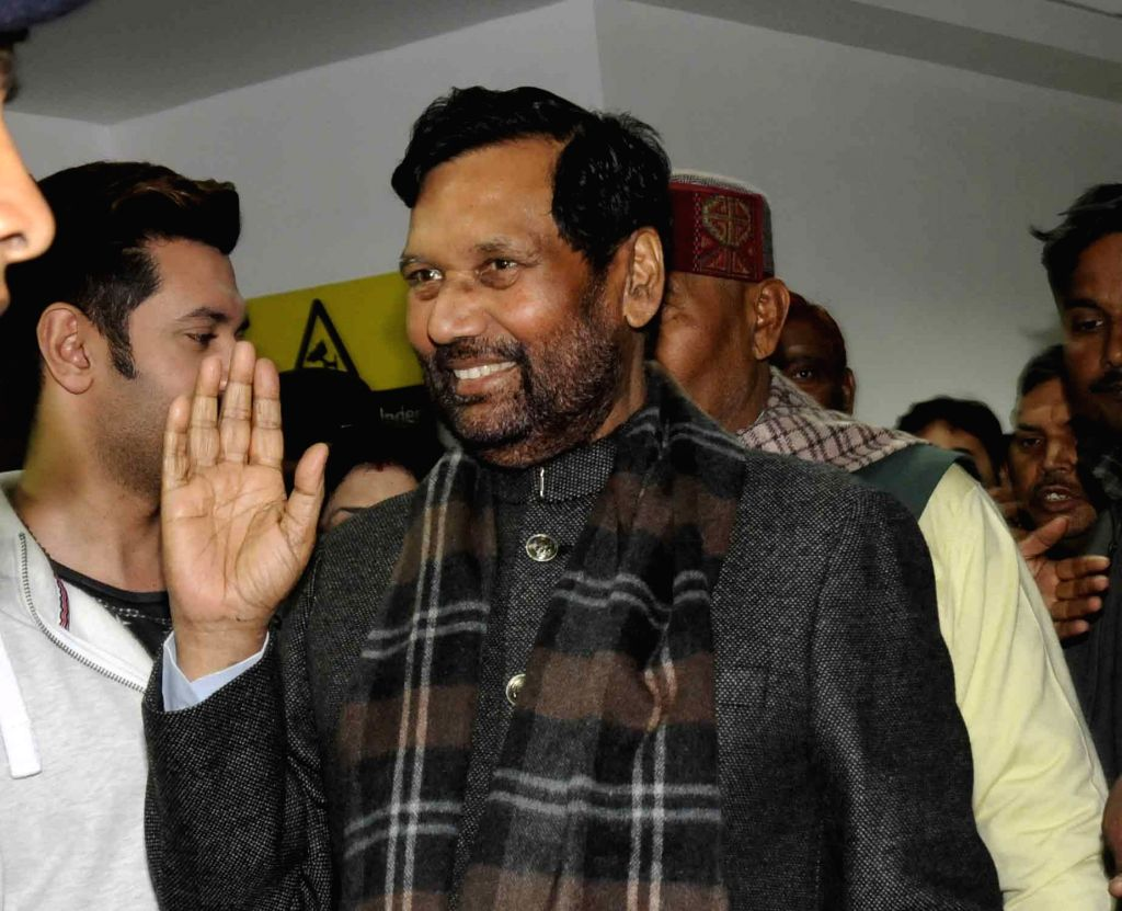 LJP chief and Union Minister for Consumer Affairs, Food and Public Distribution Ramvilas Paswan comes out after being discharged from at Patna Hospital on Jan 14, 2017.