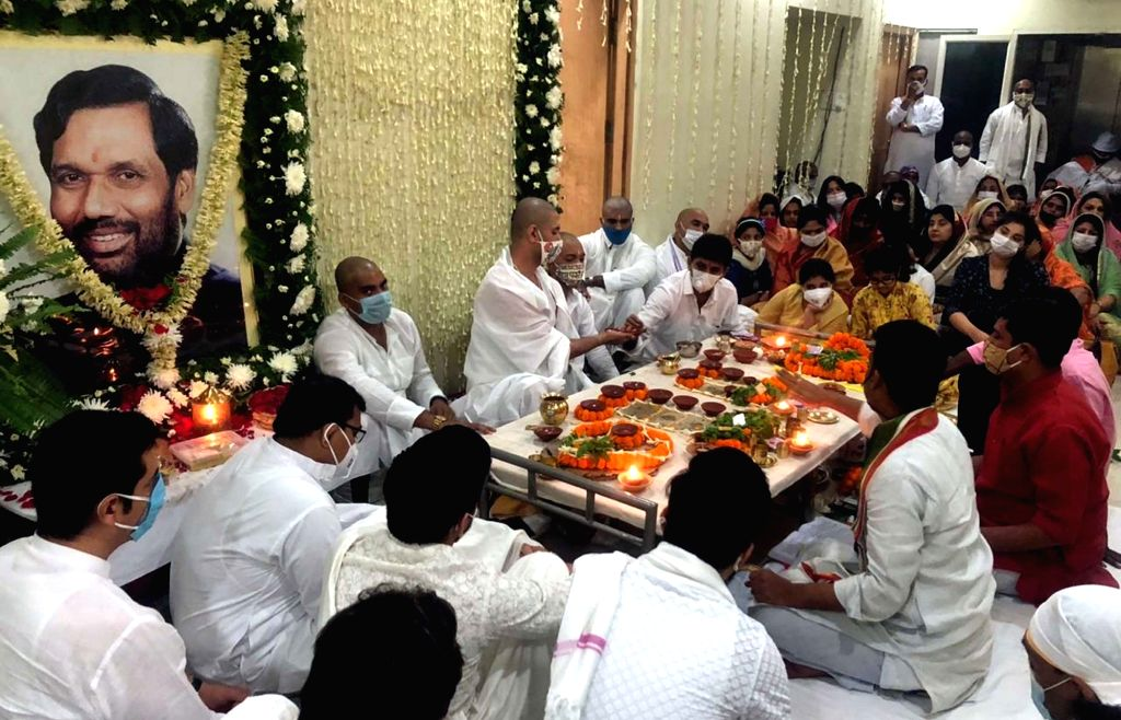 LJP chief Chirag Paswan offers prayers on his father Ram Vilas Paswan's 'Terahvin' - the ceremony conducted to mark the final day of mourning after a death by Hindus & is held on the ...