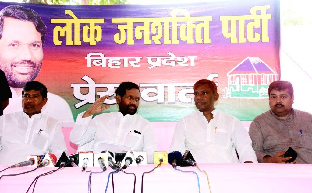 LJP chief Ram Vilas Paswan addresses a press conference in Patna on July 6, 2018.