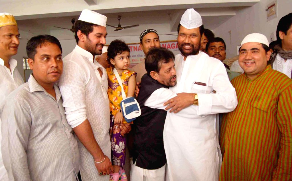 LJP chief Ram Vilas Paswan greeting muslims on the occasion of Eid-ul-Fitr in Samanpura, Patna on August 9, 2013.