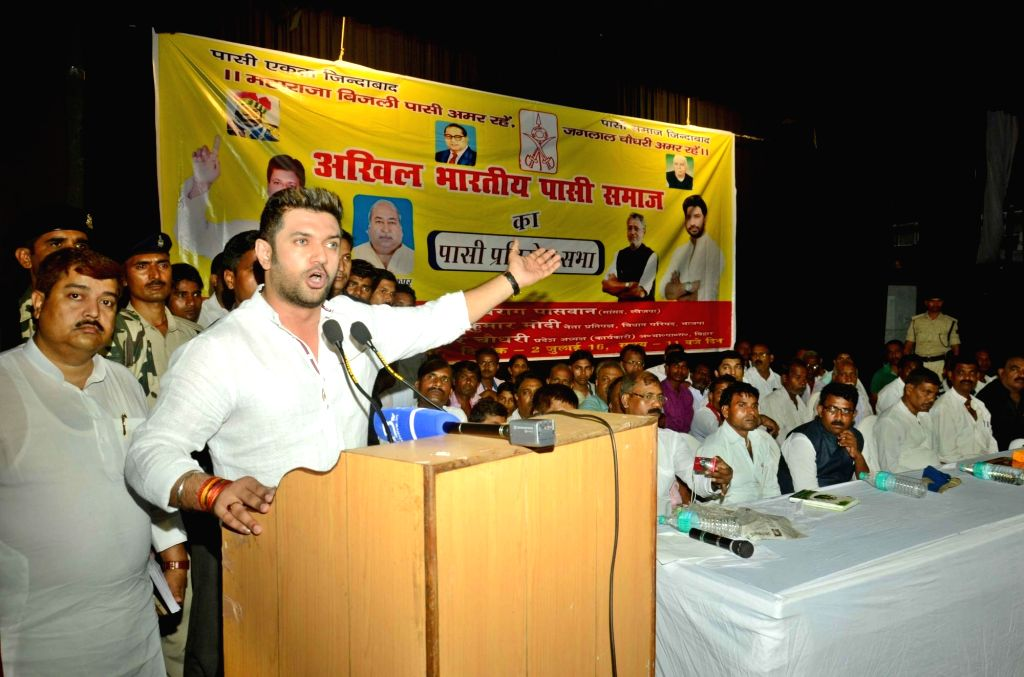 LJP MP Chirag Paswan addresses during a programme in Patna on July 2, 2016.