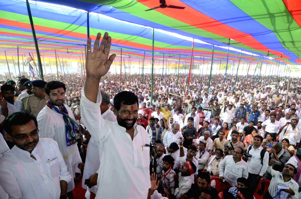 LJP supremo Ram Vilas Paswan during a rally after filing his nomination papers in Hajipur on April 15, 2014.