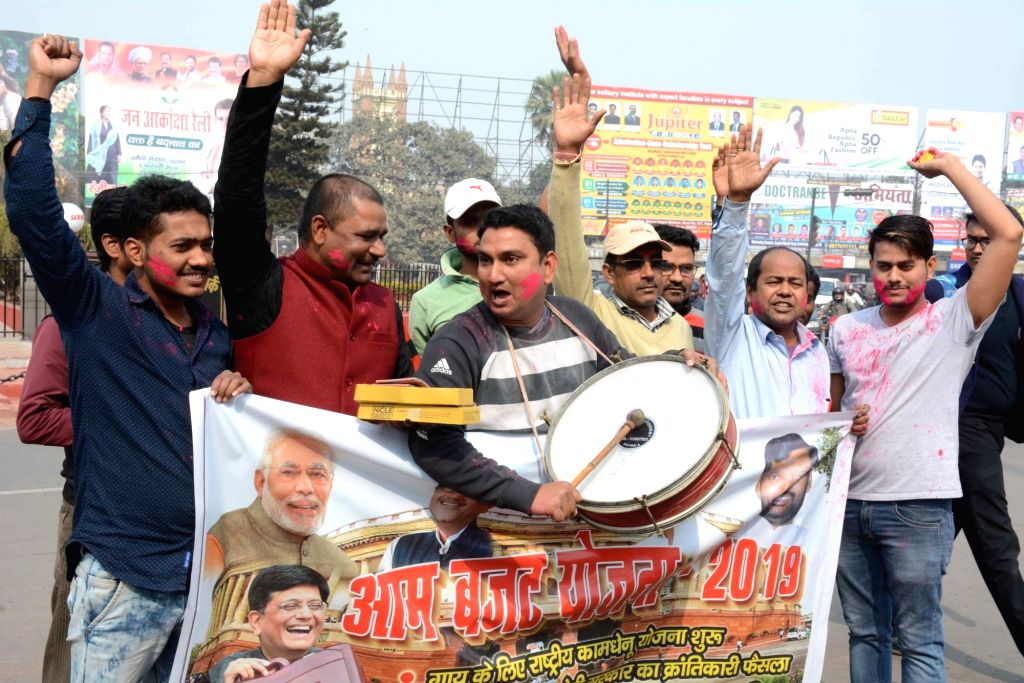 LJP workers celebrate after Union Finance Minister Piyush Goyal presented Interim Budget 2019; in Patna, on Feb 1, 2019. - Piyush Goyal