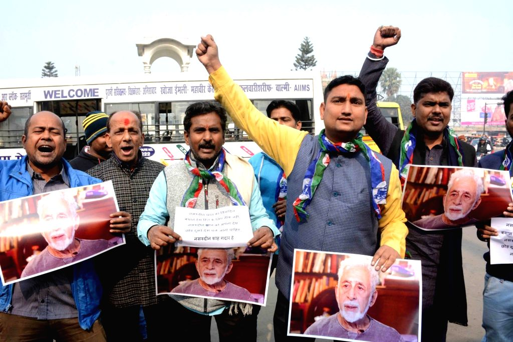 LJP workers stage a demonstration against actor Naseeruddin Shah, who has courted controversy with his views on the rising mob violence in the country, in Patna on Dec 21, 2018. - Naseeruddin Shah
