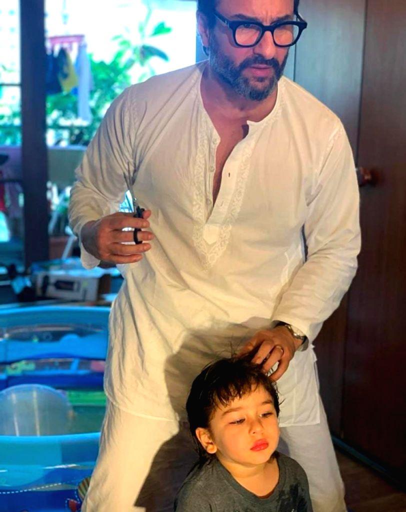 Lockdown diaries: Saif Ali Khan turns hairstylist for son Taimur. - Saif Ali Khan